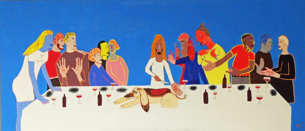 Contemporary Art Stuttgart Karlo Grados the last supper abstract oil painting pop art