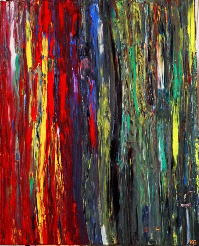 Contemporary Art Stuttgart Karlo Grados fire in the Peruvian jungle oil painting