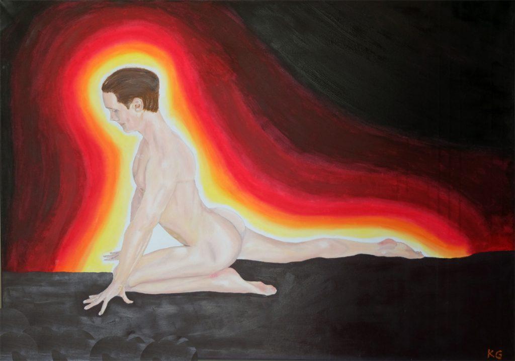 Contemporary art Stuttgart Karlo Grados nude man on the floor oil painting  germany
