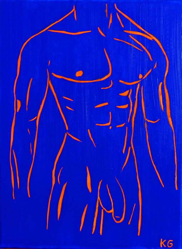 Contemporary art Stuttgart Karlo Grados nude man front with penis oil painting  germany
