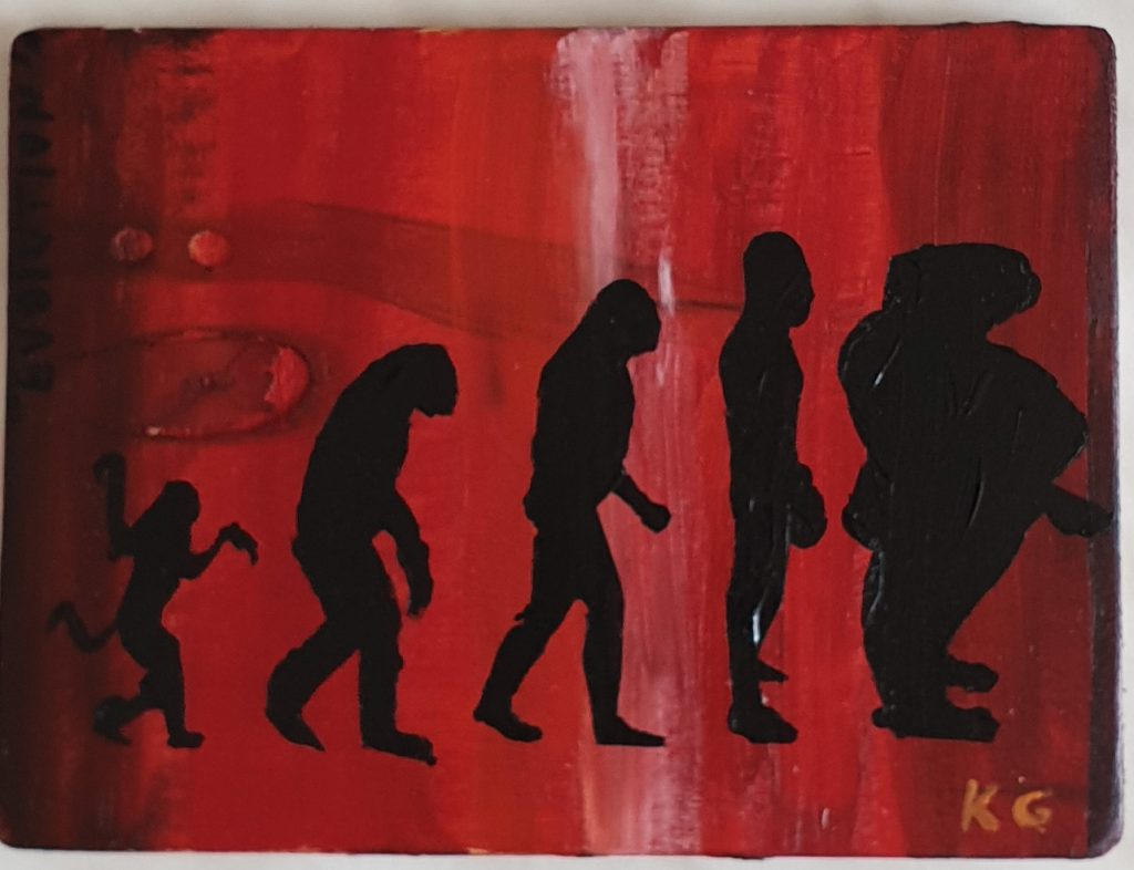 Contemporary art Stuttgart Karlo Grados humans evolution from apes to obesity oil painting  Philosophy Gallery