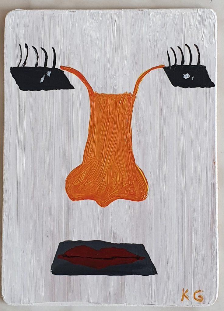 Contemporary art Stuttgart Karlo Grados face on white background acryl modern art