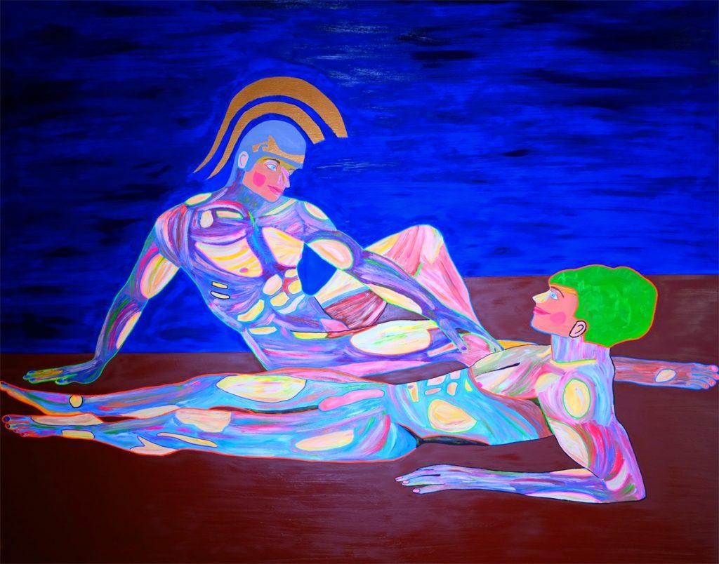 Contemporary art Stuttgart Karlo Grados Achilles & Patroklos Galerie naked men aesthetic Bulgue Oil painting