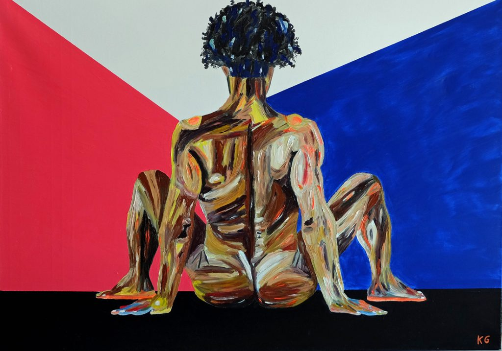 Contemporary art Stuttgart Karlo Grados oil painting nude men self portrait