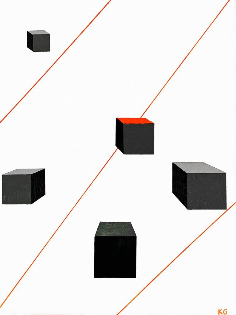 Contemporary art Stuttgart Karlo Grados oil painting modern art abstract geometric figures
